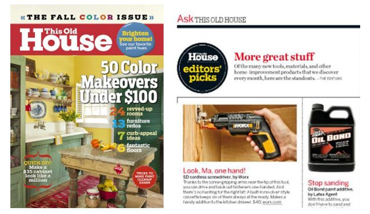 WORX SD with Screwholder Named to 'Editors' Picks' by This Old House 1