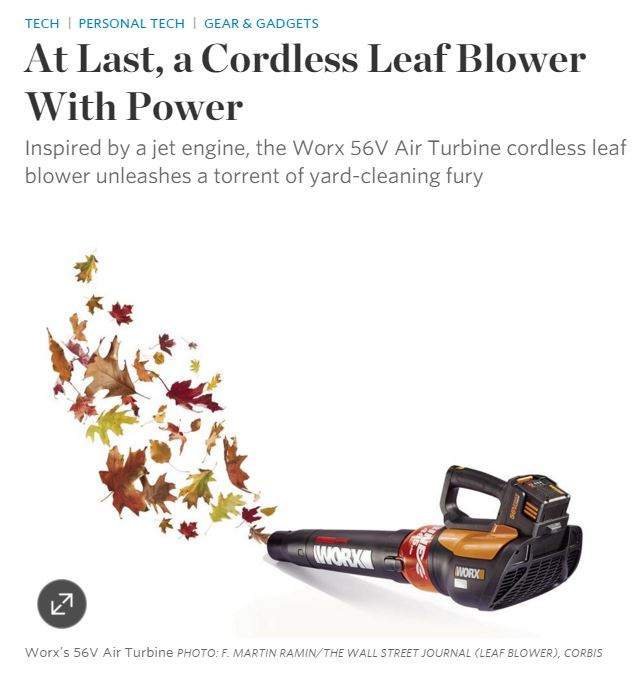 The Wall Street Journal reviews the WORX 56V TURBINE Blower